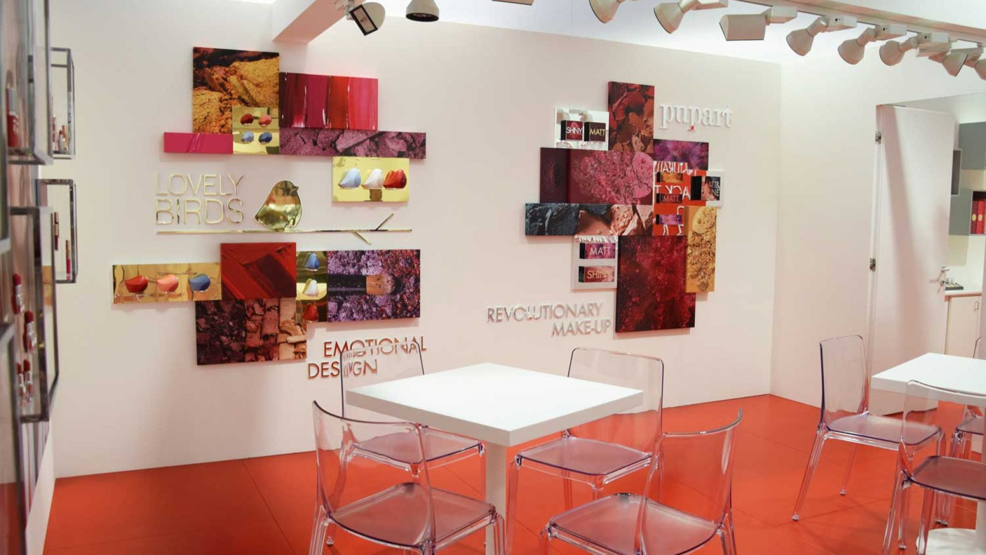Pupa - Walls with presentation displays for color-sets and boxes   - by Artes Group International